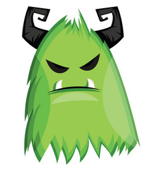On white background of grumpy green monster with vector