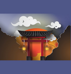Paper art of japan gate with landscape travel vector