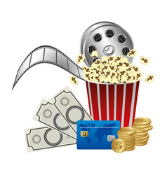 Pop corn film production and clipart money vector