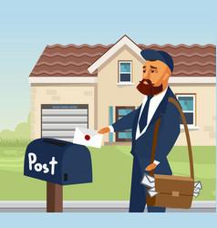 postman in professional uniform design element vector image