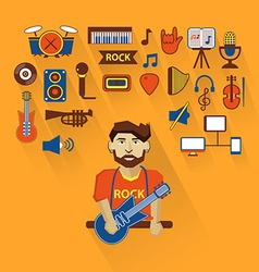 Profession of people Flat infographic Musician vector