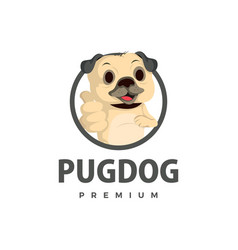 pug dog thump up mascot character logo icon vector image