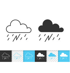 rain thunderstorm simple black line icon vector image
