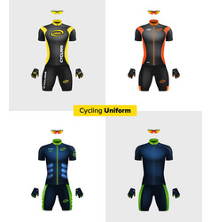 realistic cycling uniforms branding mockup vector image
