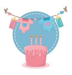 Round frame with cake vector