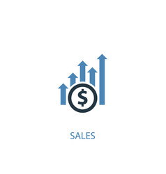 sales concept 2 colored icon simple blue element vector image