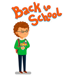 schoolboy happy schoolboy with backpack vector image