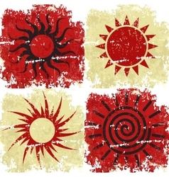 Set different grunge sun background vector