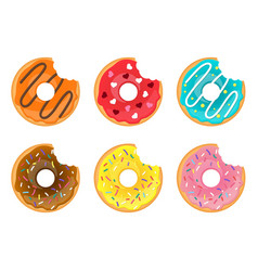 set of bitten doughnuts vector image