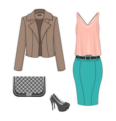 set of fashion clothes vector image