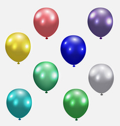 Set of festive balloons realistic colorful vector