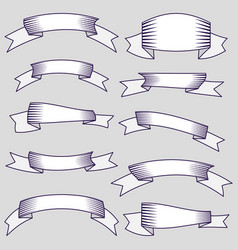 set of ten ribbons and banners for web design vector image