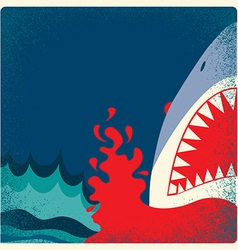 Shark jaws poster danger background vector image