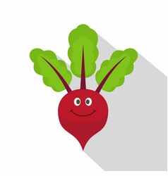 Smiling beetroot icon flat style vector