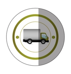 sticker with circular shape with truck and wagon vector image