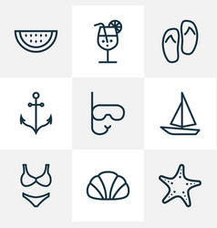 Summer outline icons set collection of swimming vector
