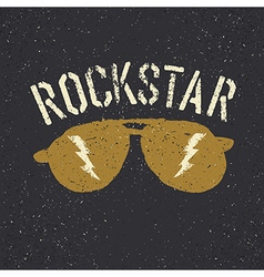 Sunglasses with thunderbolt Rockstar tee print vector image