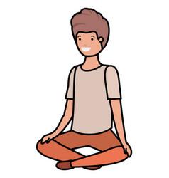 Teenager boy sitting avatar character vector