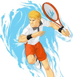 Tennis Player Holding Racket vector image