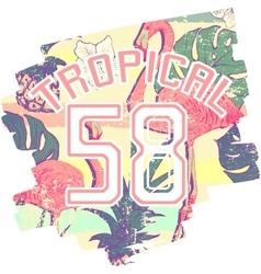 Tropical print with flamingos and number in vector