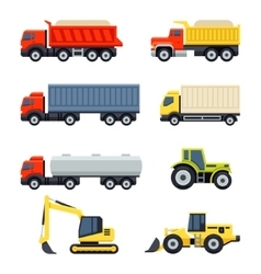 Trucks and tractors set Flat style icons vector image