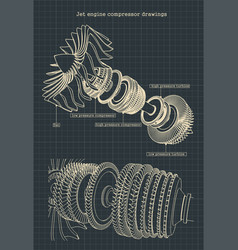 Turbofan engine compressor drawings vector
