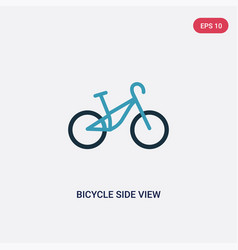 Two color bicycle side view icon from transport vector
