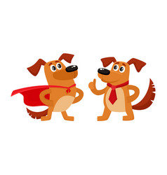 Two dog characters in superhero cape thumb up vector