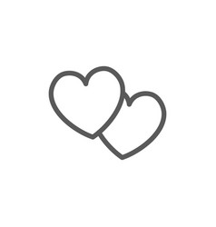 two hearts f line icon vector image
