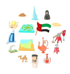 Uae icons set cartoon style vector