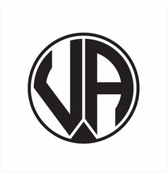va logo monogram circle with piece ribbon style vector image