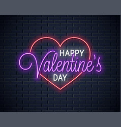 valentines day neon sign happy valentines day vector image