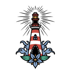 Vintage marine colorful tattoo concept vector