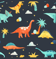 watercolor dinosaur baby pattern vector image