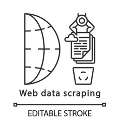 Web data scraping linear icon vector