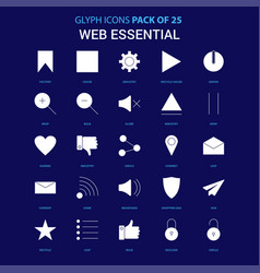 Web essential white icon over blue background 25 vector