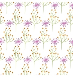 Wild flower spring pink and green field seamless vector