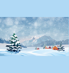 winter snow landscape houses snowflakes falling vector image