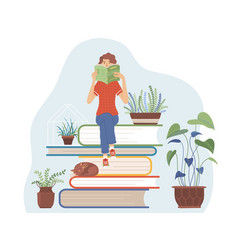 woman sitting on books pile and reading a book vector image