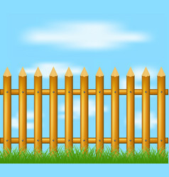 Wooden fence standing in grass and blue sky vector