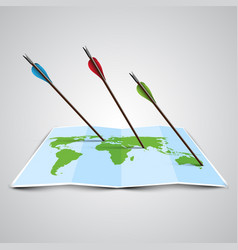 world map in 3d with arrows vector image