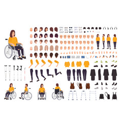 Young disabled woman in wheelchair constructor or vector