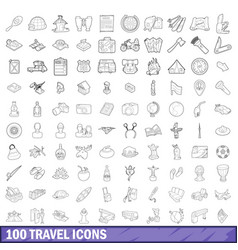 100 travel icons set outline style vector image