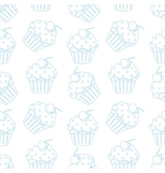 Cream cake seamless white pattern vector image vector image