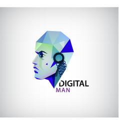 Digital man robot logo icon isolated vector