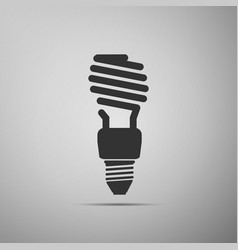 energy saving light bulb icon on grey background vector image