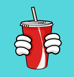 llustration of red soda cup and holding hands vector image vector image