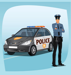 police officer or policeman with patrol car vector image vector image