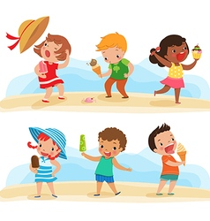 set of children with ice cream vector image