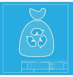 Trash bag icon White section of icon on blueprint vector image vector image